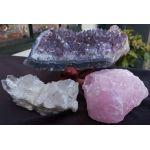 Magical Trio Amethist- Rozekwarts-Bergkristal ' medium grootte