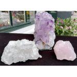 Magical Trio met helderpaarse Amethist kristallen