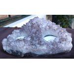 Theelichthouder Amethist 3 delig heldere zachtpaarse kristallen ruw extra