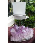 Amethist cluster helderpaarse kristallen extra kwaliteit  ruw  en rondom gepolijst  met theelichthouder
