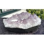 Super Amethist Theelichthouder ruw 2 delig satijnzacht paarse kristallen