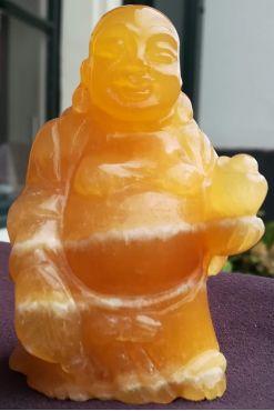 Oranje Calsiet Buddha staand extra kwaliteit