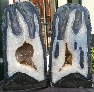 Agaat Bergkristal Geode Tweeling