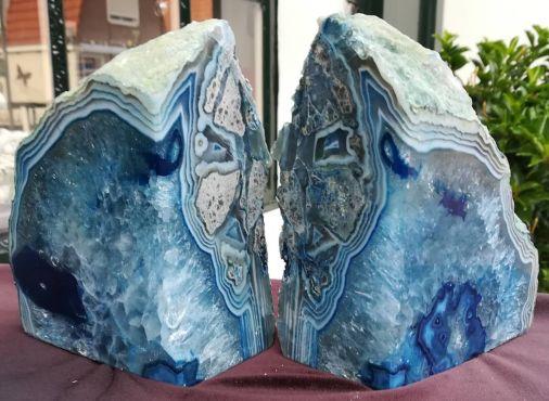 Agaat Boekensteunen blauw