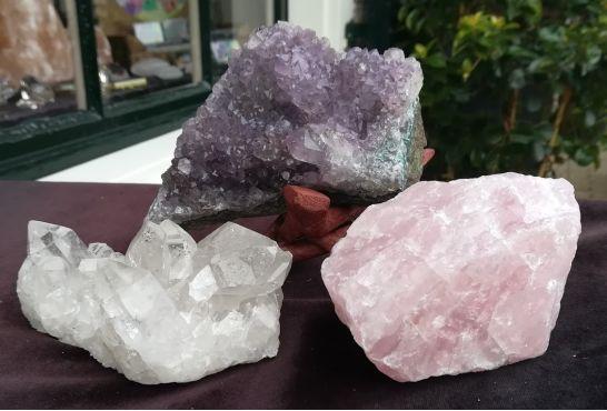 Magical Trio Amethist-Rozekwarts-Bergkristal medium groot extra zachtpaars amethist